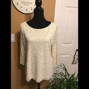 Charter Club Lace Cream Top